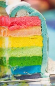 Intérieur rainbow cake