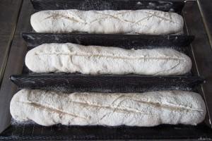 Baguettes bio avant cuisson