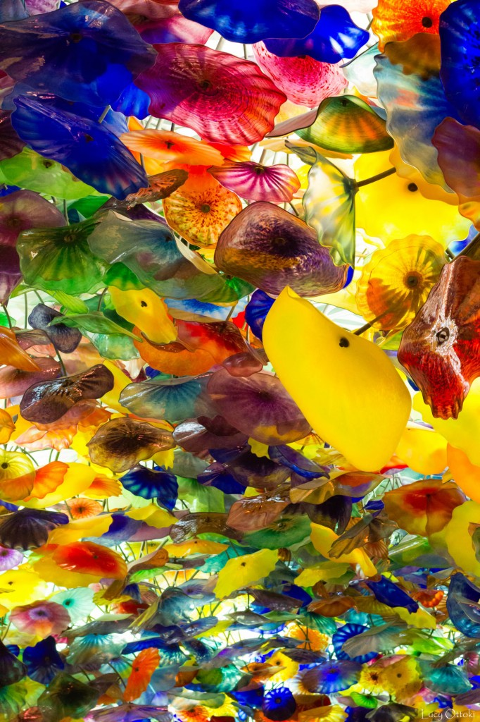 Plafond hall Bellagio 2000 fleurs verre soufflée à la main